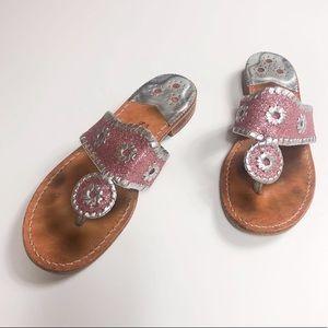 Jack Rogers Pink Glitter/Silver Sandals 7
